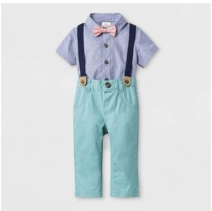 by Boys' Short Sleeve Woven Bodysuit with Bowtie